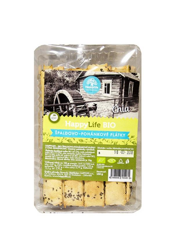Plátky špaldovo-pohánkové s chia semienkami BIO HAPPY LIFE 150g
