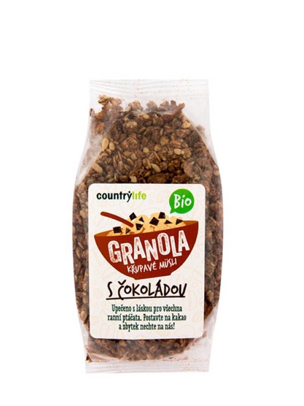 Granola - chrumkavé ovsené müsli s čokoládou BIO COUNTRY LIFE 350g