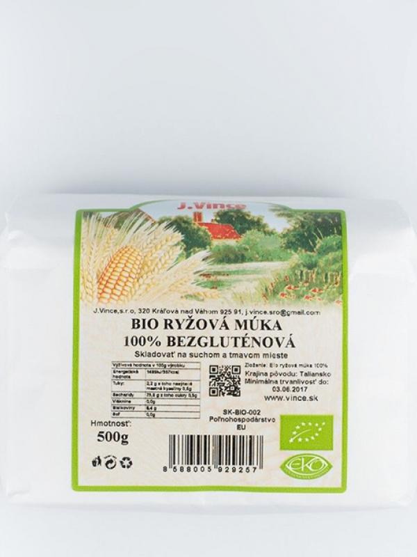 Bio ryžová múka 100% bezgluténová VINCE 500 g