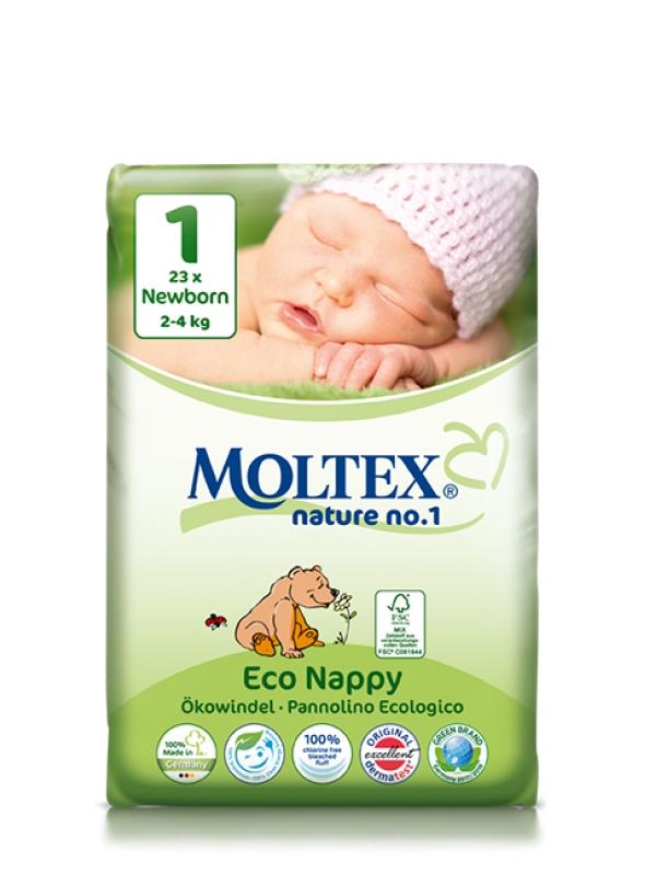 Detské prírodné plienky veľkosť 1 Moltex 23 ks