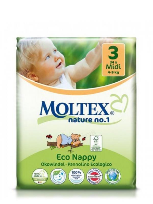 Detské prírodné plienky veľkosť 3 Moltex 34 ks