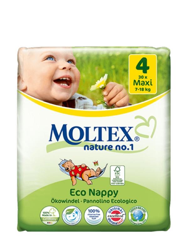 Detské prírodné plienky veľkosť 4 Moltex 30 ks