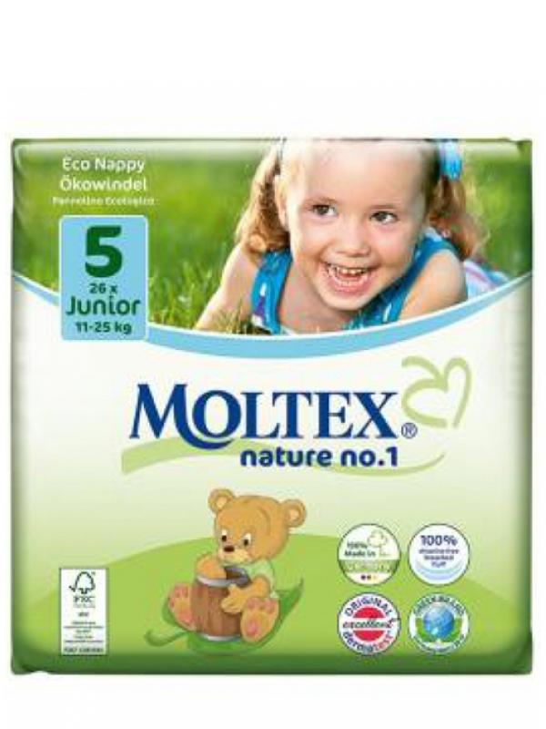 Detské prírodné plienky veľkosť 5 Moltex 26 ks