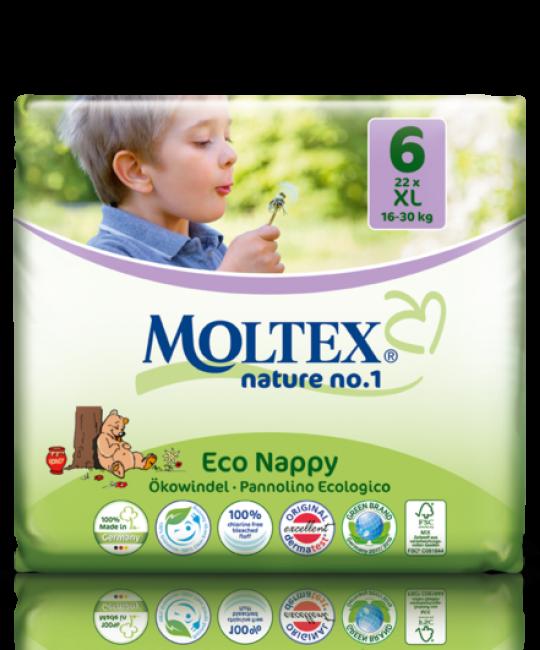 Detské prírodné plienky veľkosť 6 Moltex 22 ks