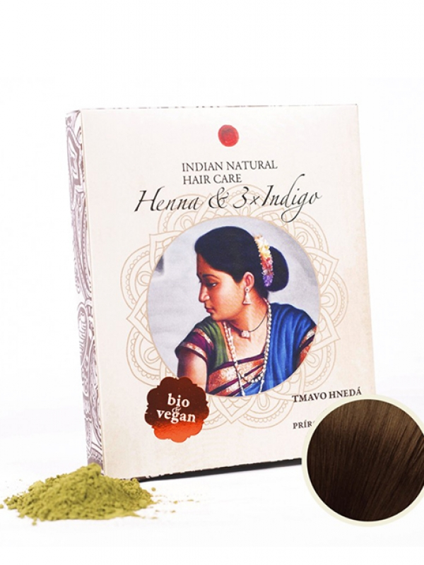 Henna & 3xIndigo 200g - tmavo hnedá farba na vlasy Indian Natural 200 g