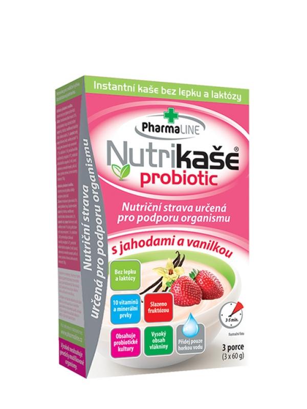 Nutrikaša probiotic s jahodou a vanilkou PharmLine 3 x 60 g