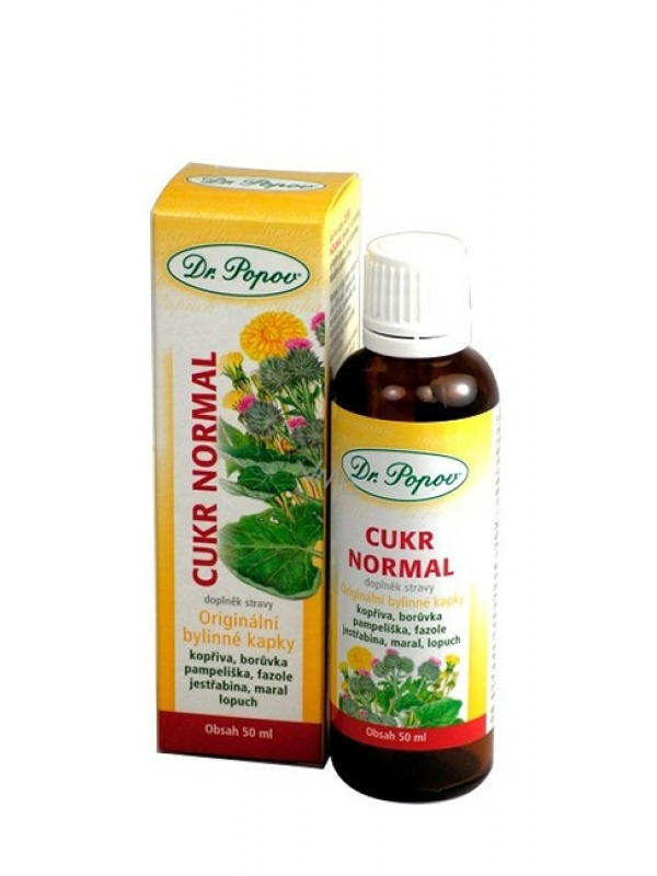 Cukor normal - bylinné kvapky DR. POPOV 50 ml